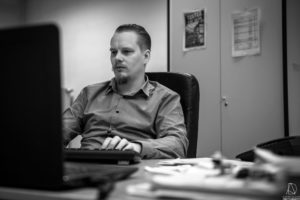 Mathias Ameloot, couteau suisse Winbooks, portrait au travail, Bruxelles 2018