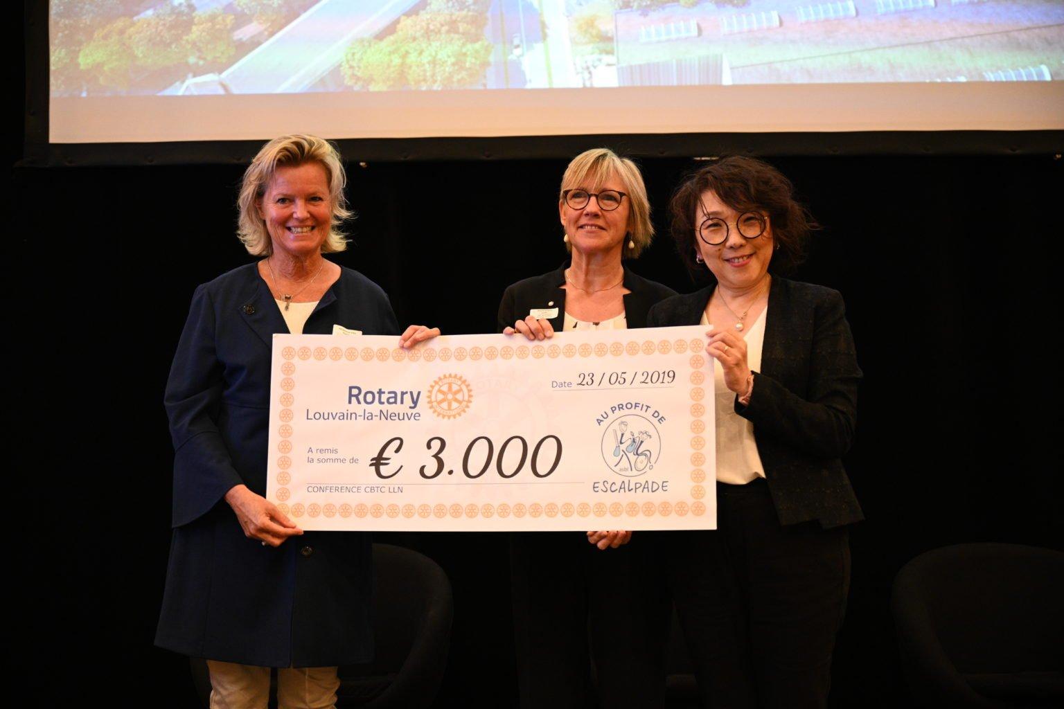 Remise du prix à l'ASBL Escalpade, Conférence à propos du CBTC, par le Rotary Club de Louvain-La-Neuve