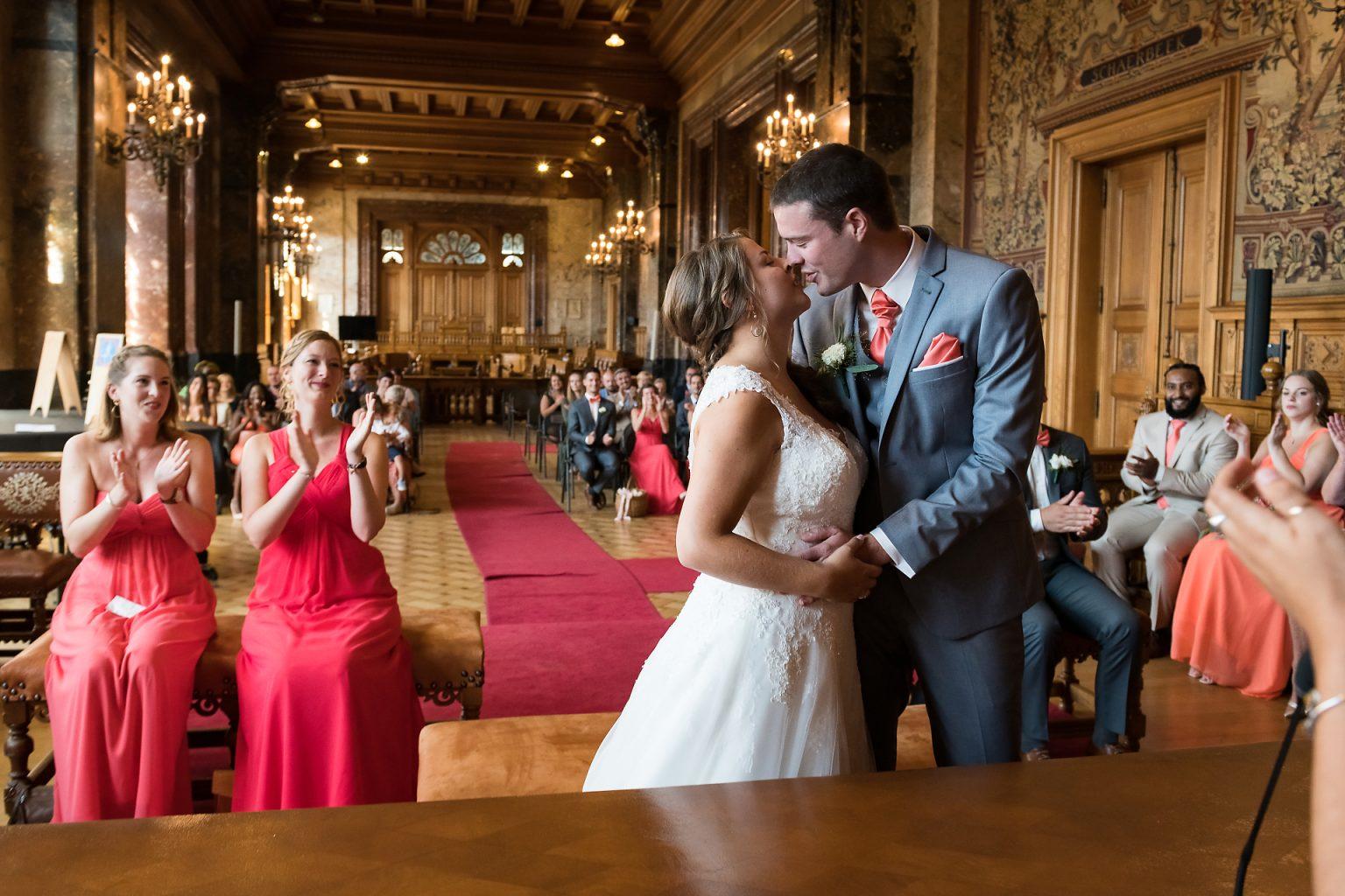 Photo de couple, lors de la cérémonie de mariage, Mariage de Jennifer et Benjamin, Aurore Delsoir photographe événementiel