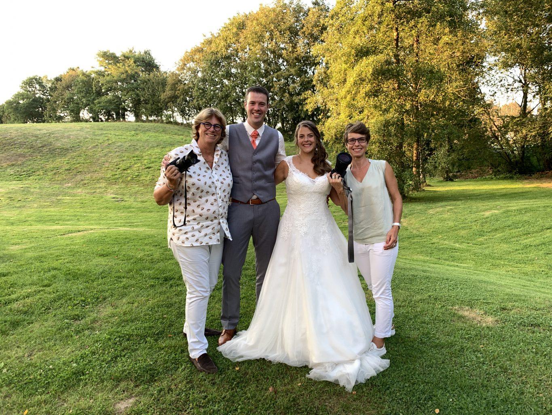 Les mariés et leurs deux photographes, Aurore Delsoir et Patricia Michaux, Mariage de Jennifer et Benjamin