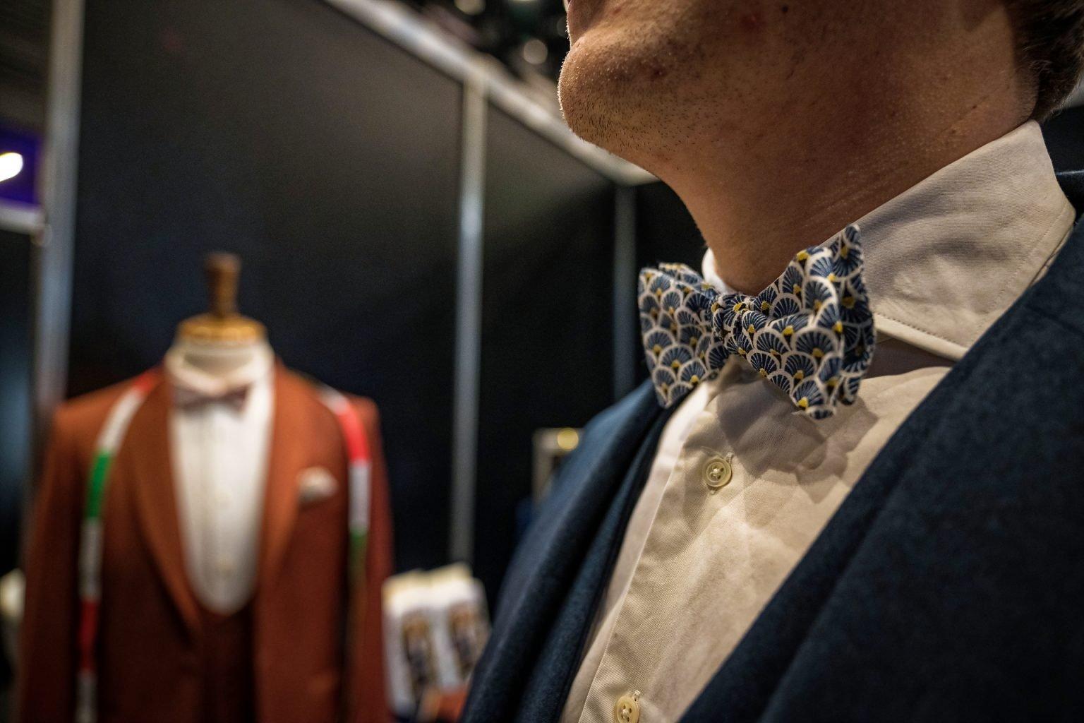 Détail d'un costume sur mesure, Salon Party and Wedding à la Sucrerie de Wavre, 15/02/2020
